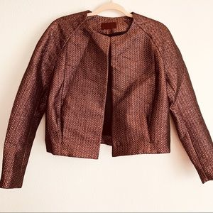 H&M Bronze Black Textured Cropped Pleated Jacket 6